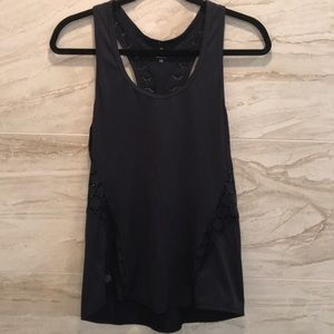 Navy ATHLETA tank top with lace detail